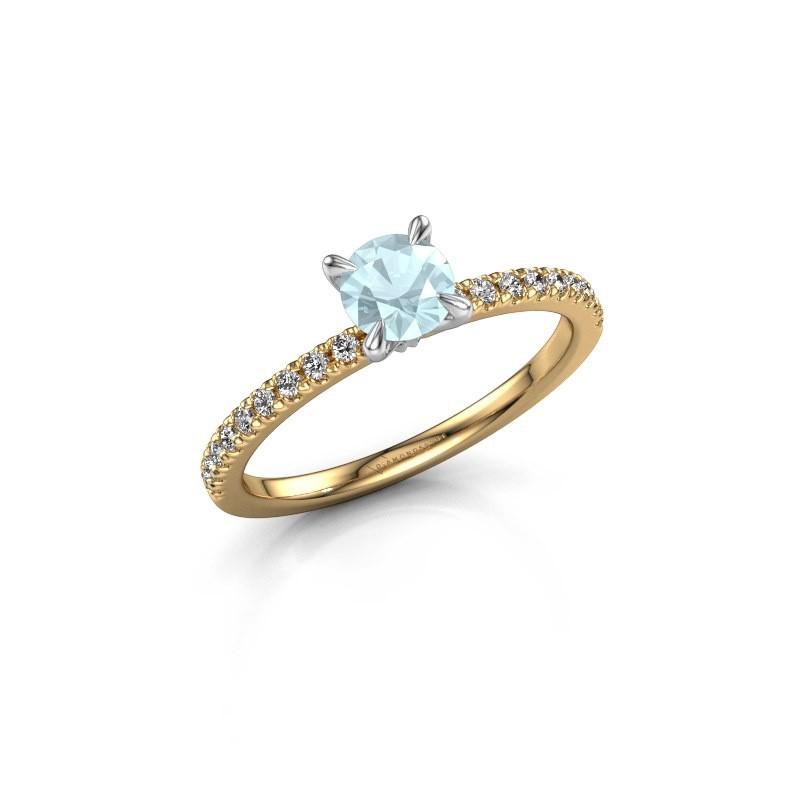 Verlovingsring Crystal rnd 2 585 goud aquamarijn 5 mm