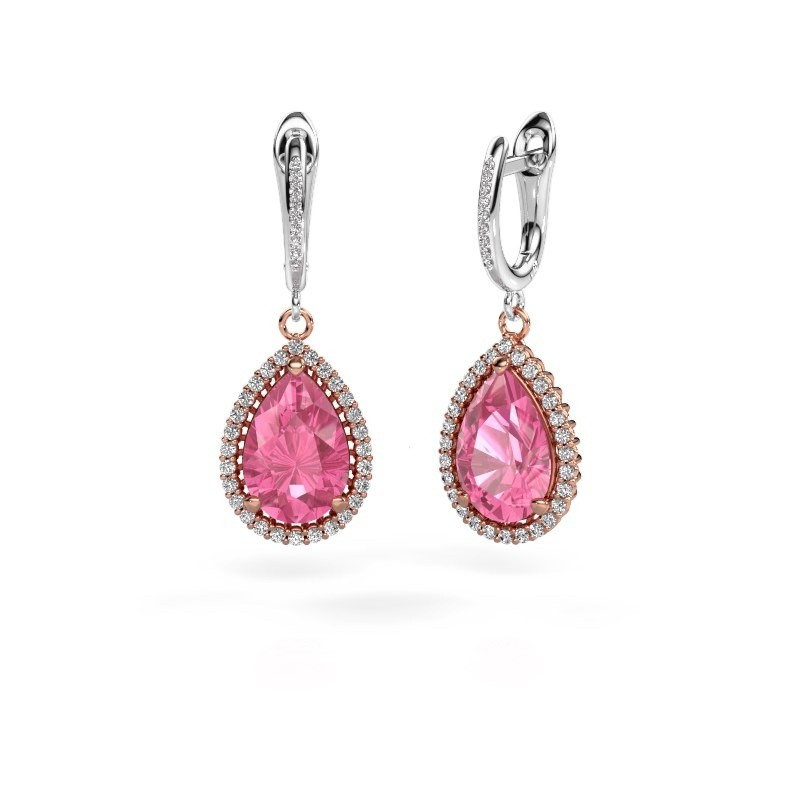 Drop earrings Hana 2 585 rose gold pink sapphire 12x8 mm