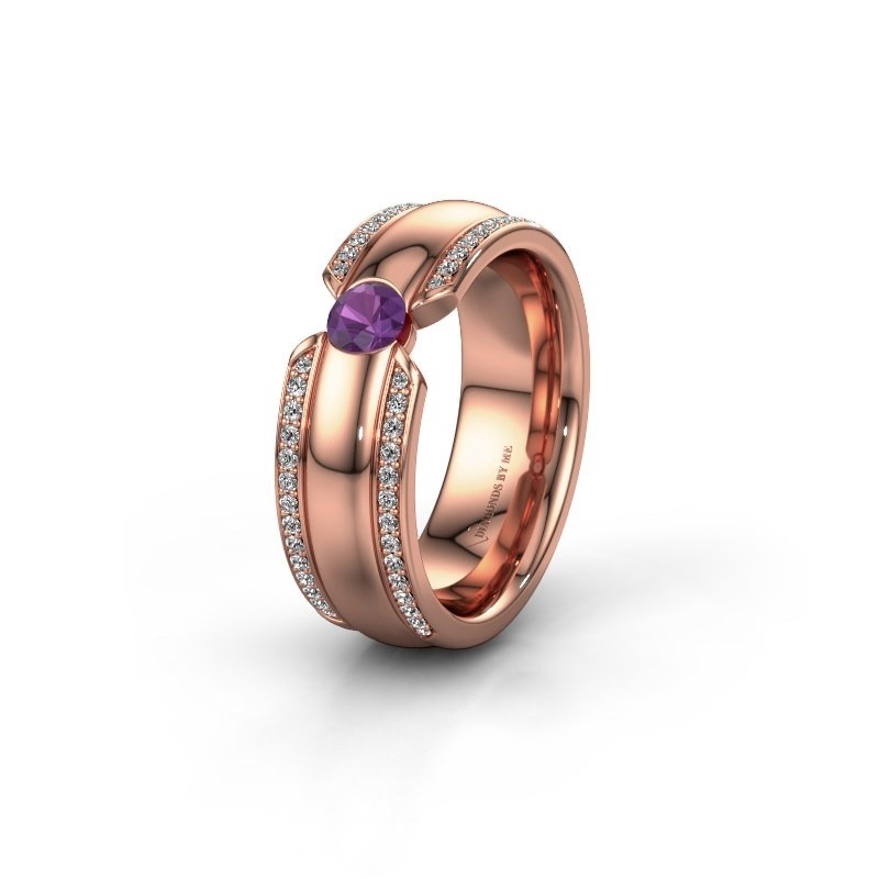Wedding ring WHR0575L 375 rose gold amethyst ±7x2 mm