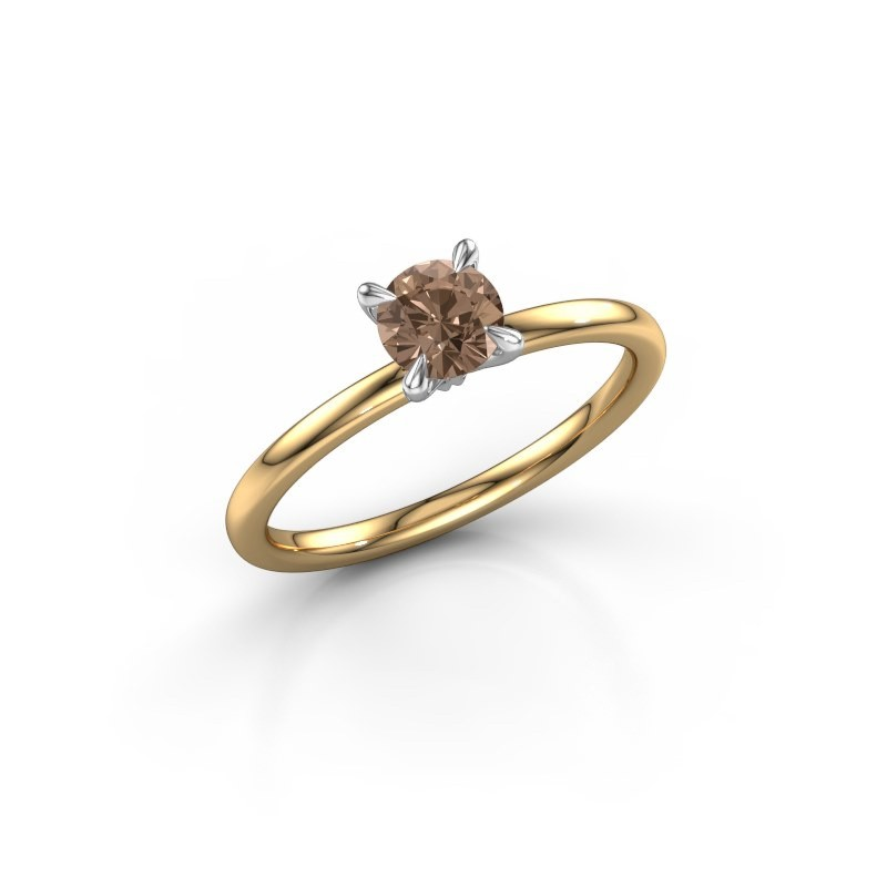 Verlovingsring Crystal RND 1 585 goud bruine diamant 0.50 crt