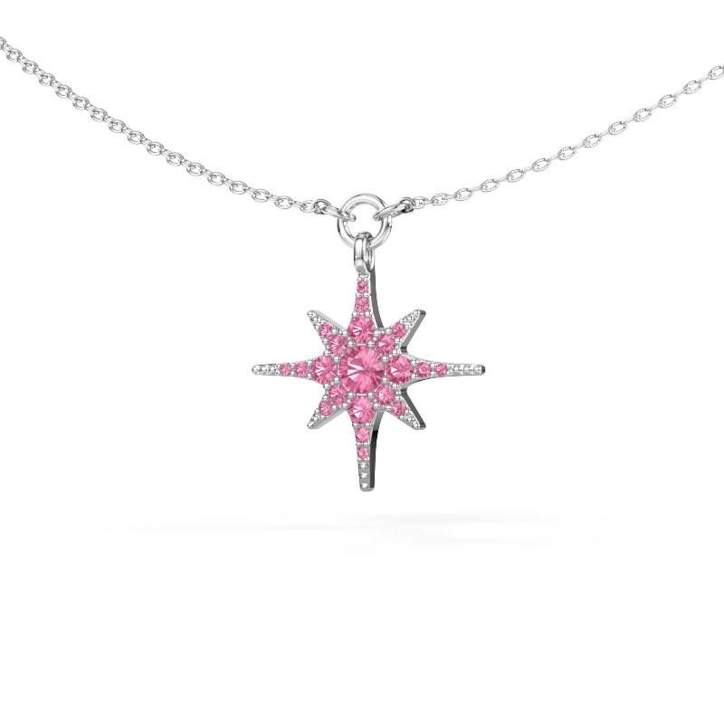 Halsketting Star 925 zilver roze saffier 3 mm