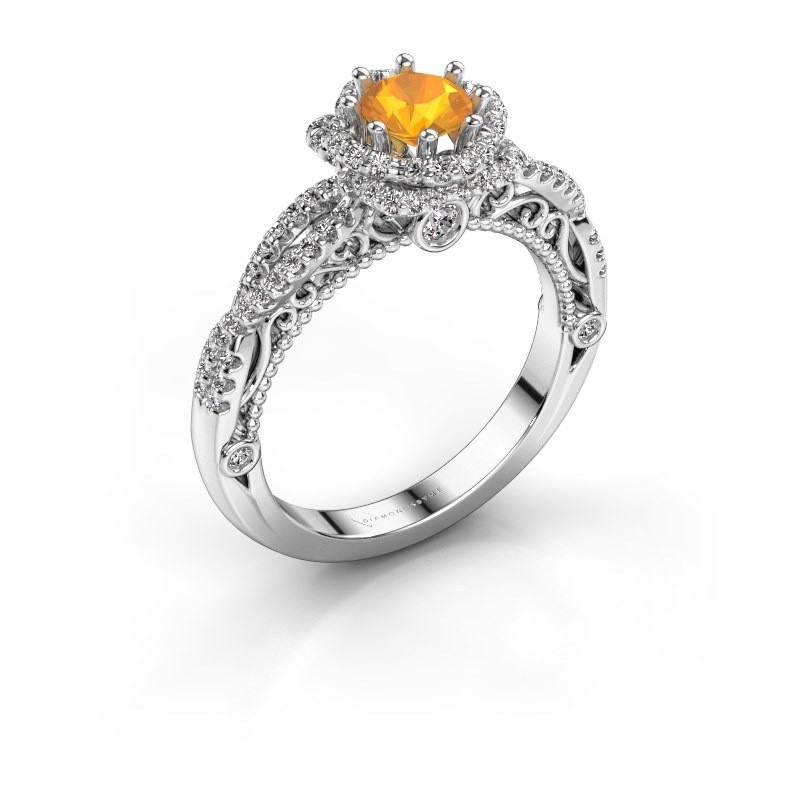 Engagement ring Lysanne 950 platinum citrin 5 mm