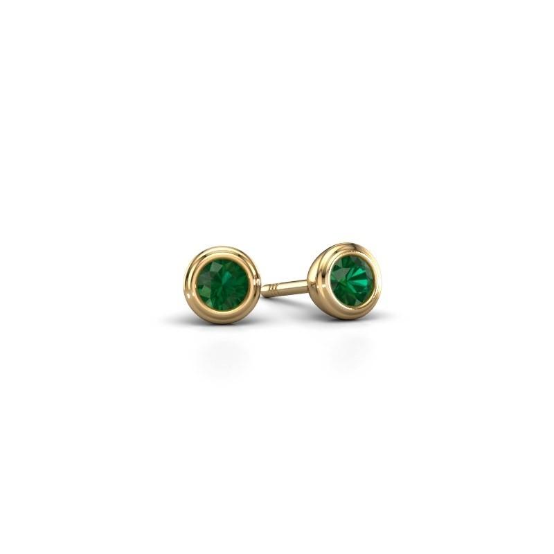 Oorstekers Shemika 585 goud smaragd 3.4 mm