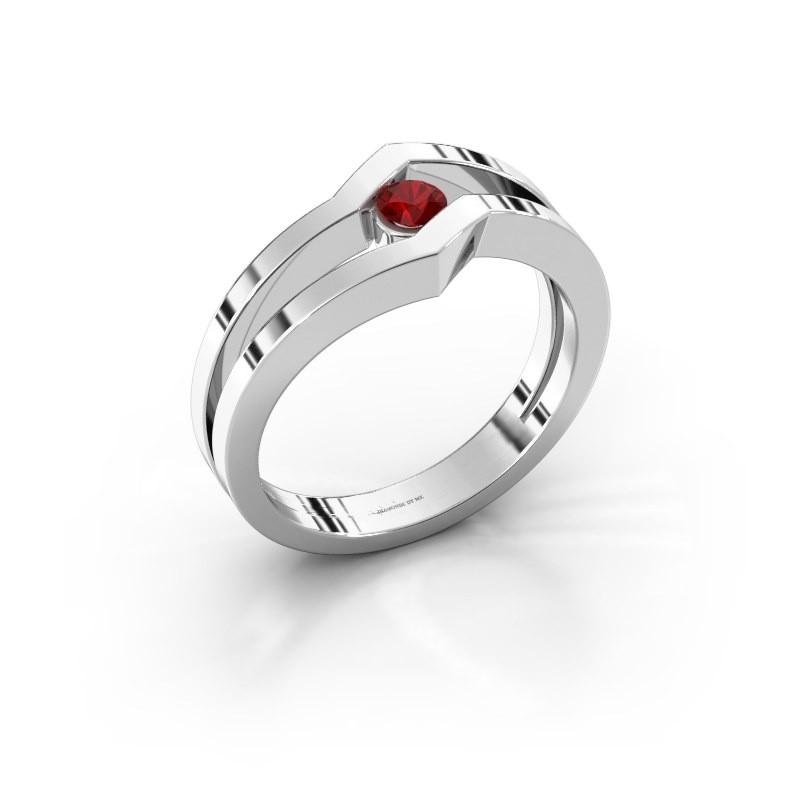 Ring Elize 585 witgoud robijn 3.4 mm