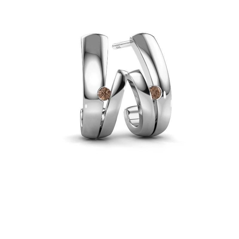 Oorbellen Shela 925 zilver bruine diamant 0.06 crt