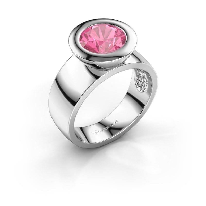 Bague Maxime 925 argent saphir rose 8 mm