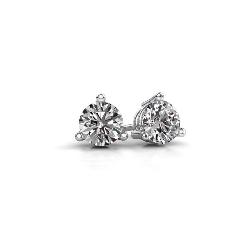 Clous d'oreilles Somer 585 or blanc diamant 0.10 crt