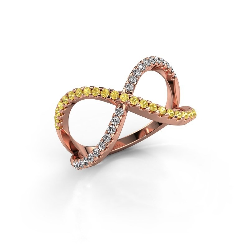 Ring Alycia 2 375 rose gold yellow sapphire 1.3 mm