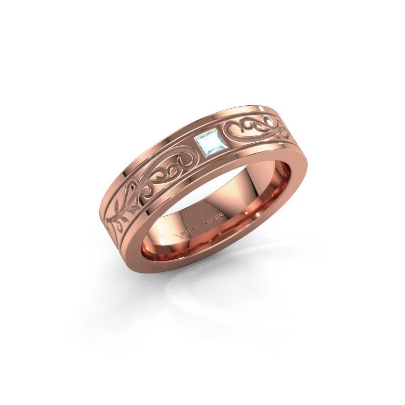 Men's ring Matijs 375 rose gold aquamarine 3 mm