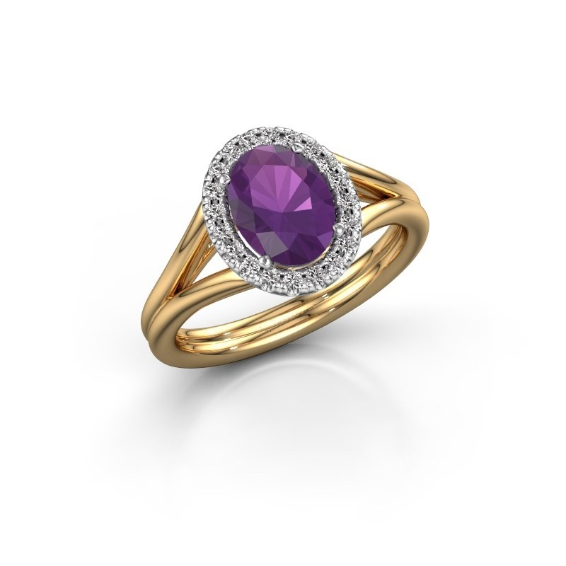 Engagement ring Rachele 1 585 gold amethyst 8x6 mm