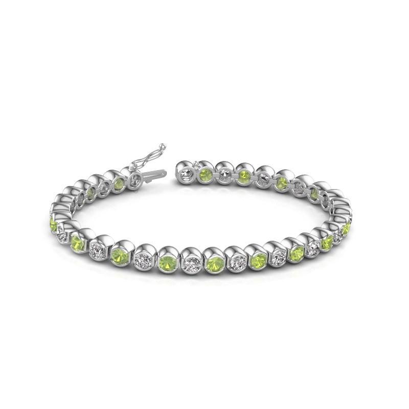 Tennis bracelet Bianca 585 white gold peridot 4 mm