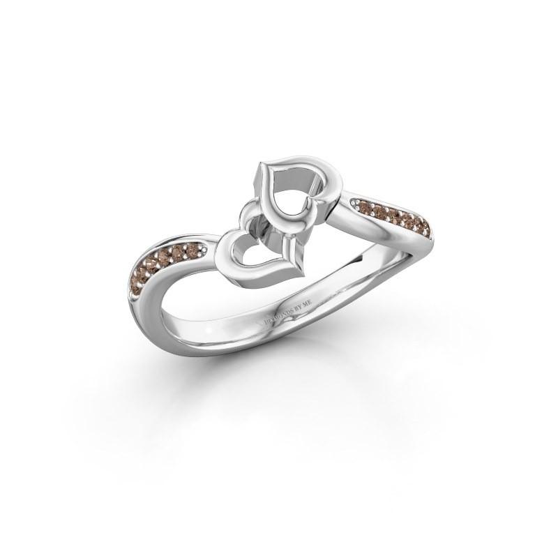 Bague Xaviera 950 platine diamant brun 0.112 crt