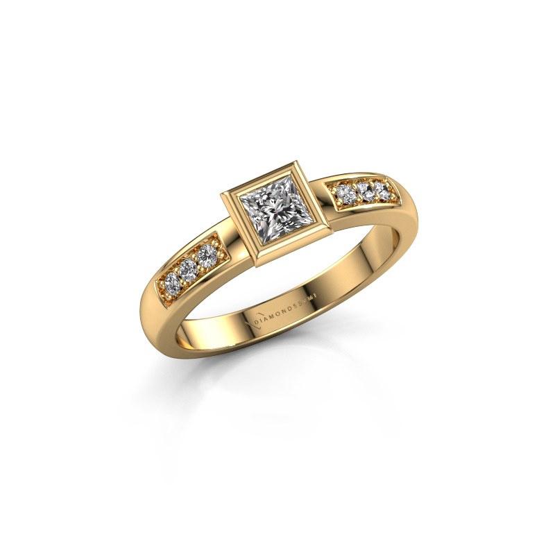 Stacking ring Lieke Square 585 gold diamond 0.340 crt