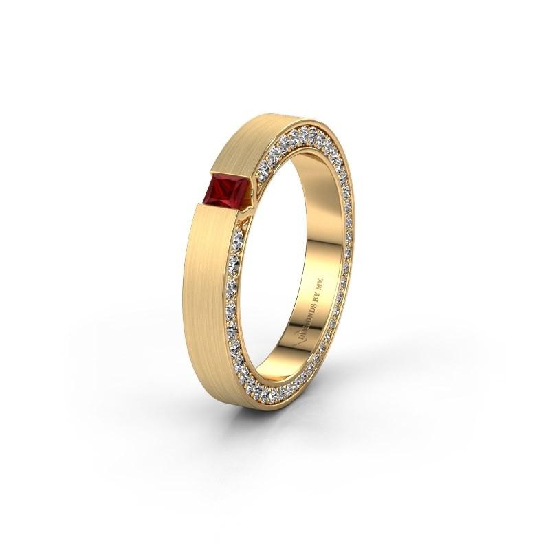 Wedding ring WH2140L14B 375 gold ruby ±3,5x2 mm