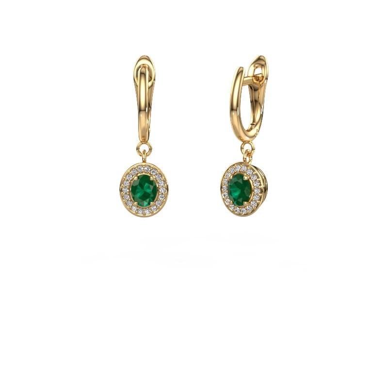Oorhangers Nakita 375 goud smaragd 5x4 mm