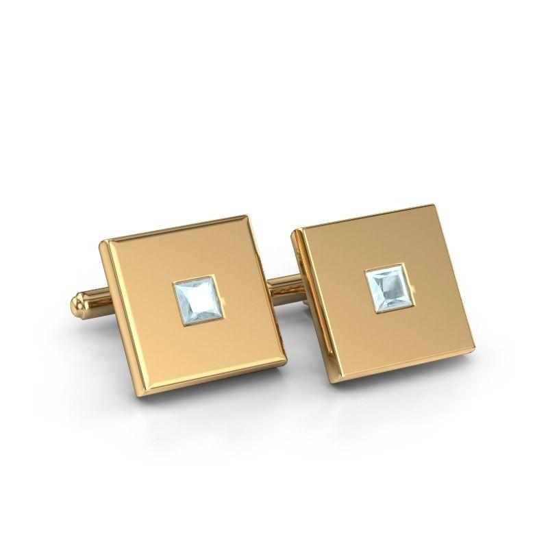 Cufflinks Givanti 585 gold aquamarine 4 mm