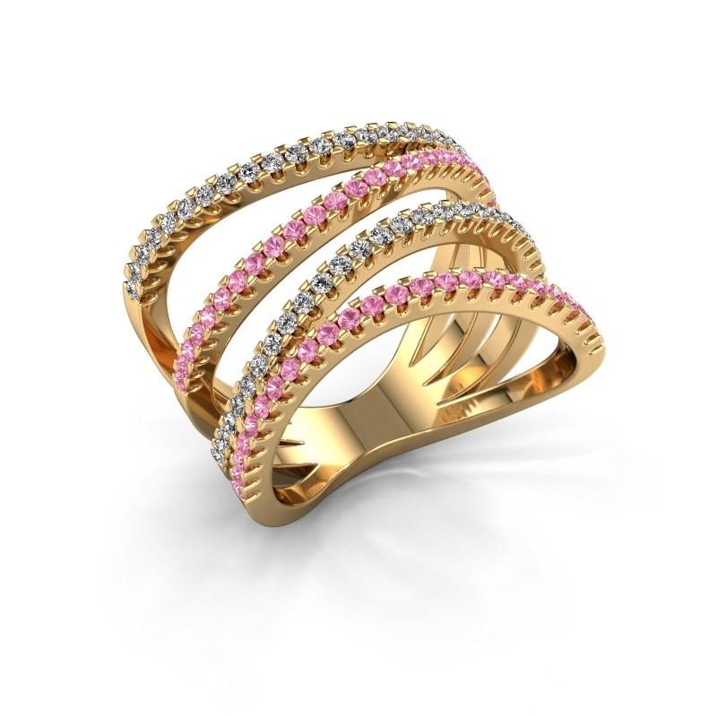 Ring Mitzi 375 goud roze saffier 1.2 mm