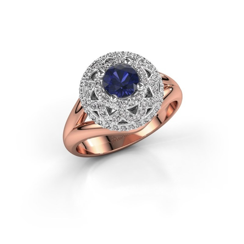 Ring Leonora 585 rosé goud saffier 5 mm