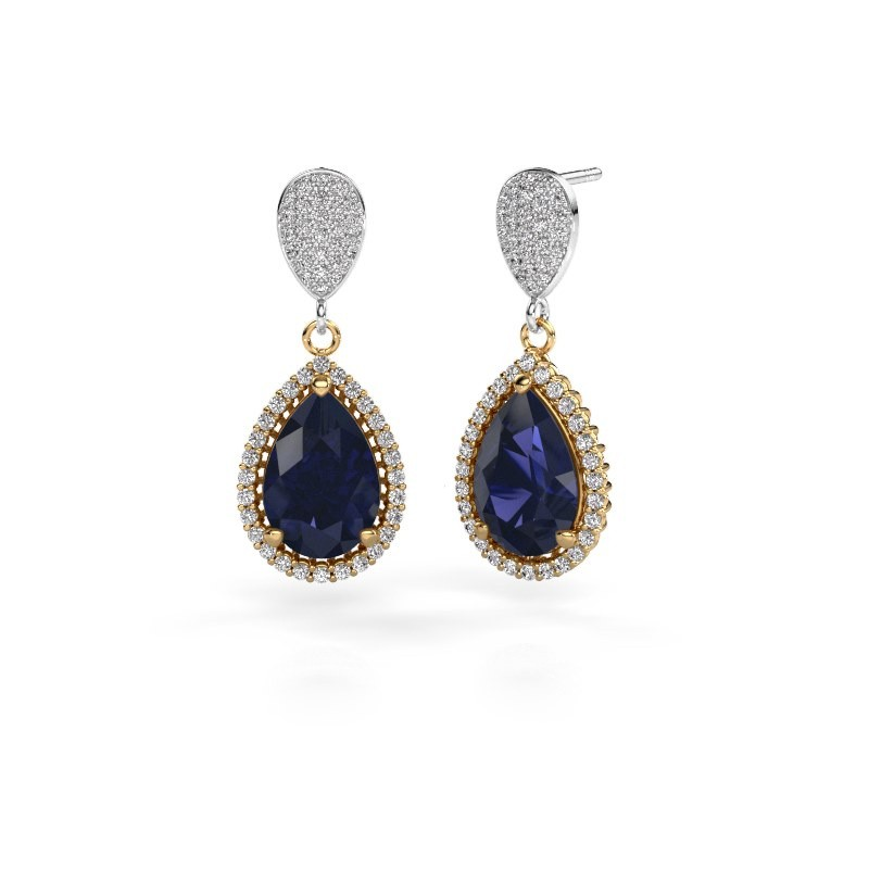 Drop earrings Tilly per 2 585 gold sapphire 12x8 mm