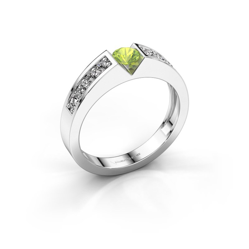 Engagement ring Lizzy 2 585 white gold peridot 4.2 mm