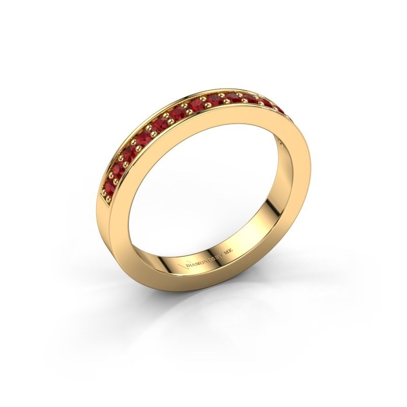 Stackable ring Loes 6 375 gold ruby 1.7 mm