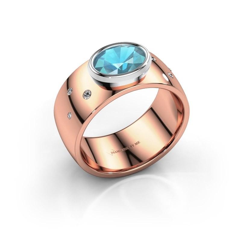 Ring Wilma 2 585 rosé goud blauw topaas 8x6 mm