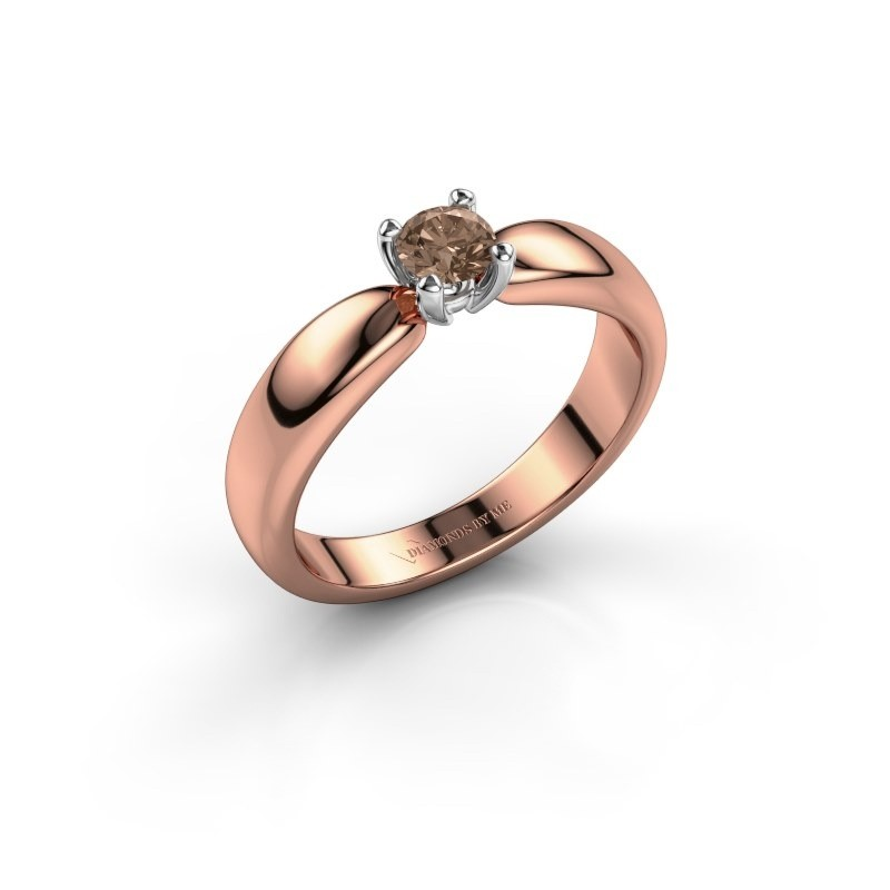 Promise ring Katrijn 585 rose gold brown diamond 0.30 crt