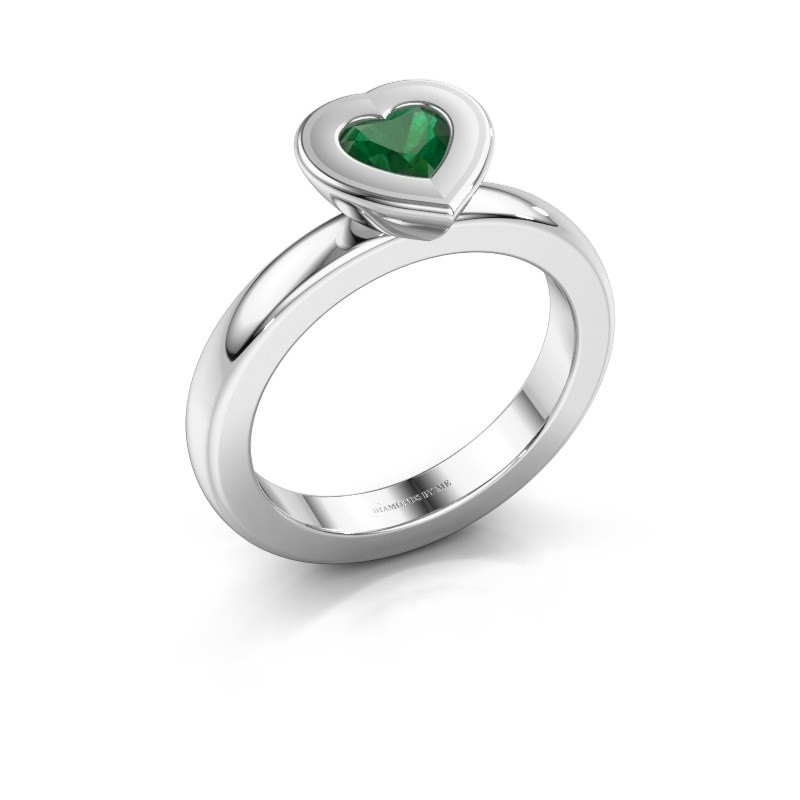 Stapelring Eloise Heart 925 zilver smaragd 5 mm