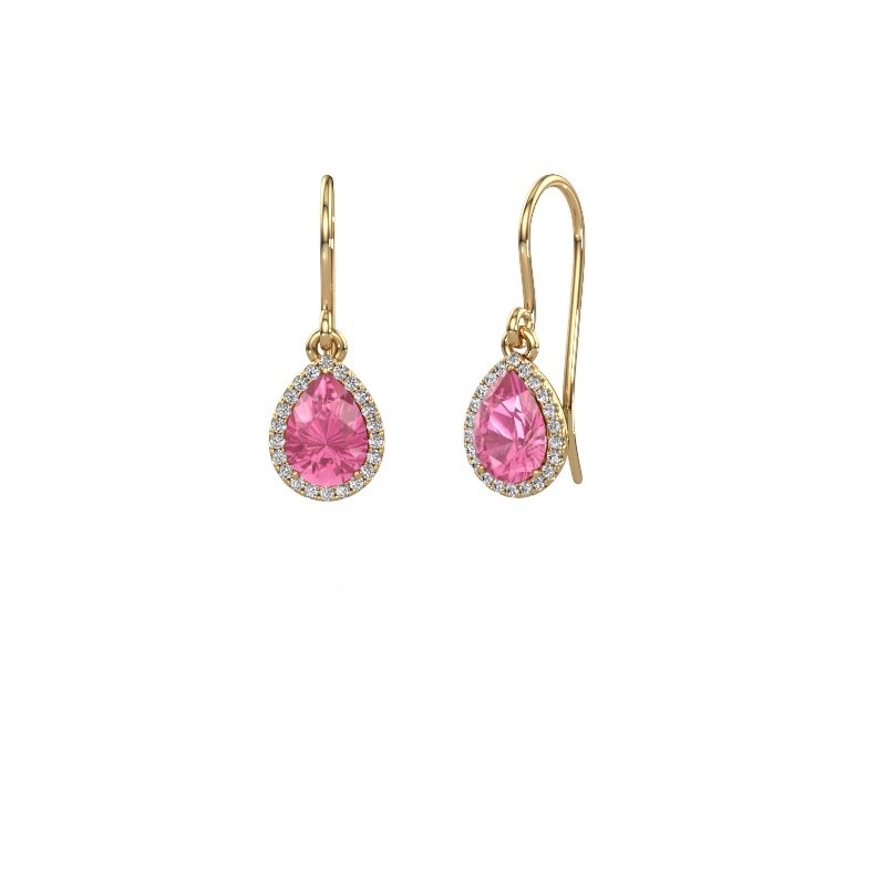 Ohrhänger Seline per 585 Gold Pink Saphir 7x5 mm