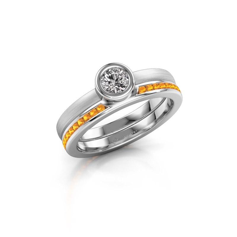 Ring Cara 585 white gold citrin 4 mm