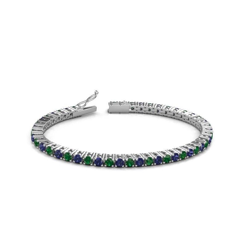 Tennisarmband Karin 3.5 mm 585 witgoud smaragd 3.5 mm