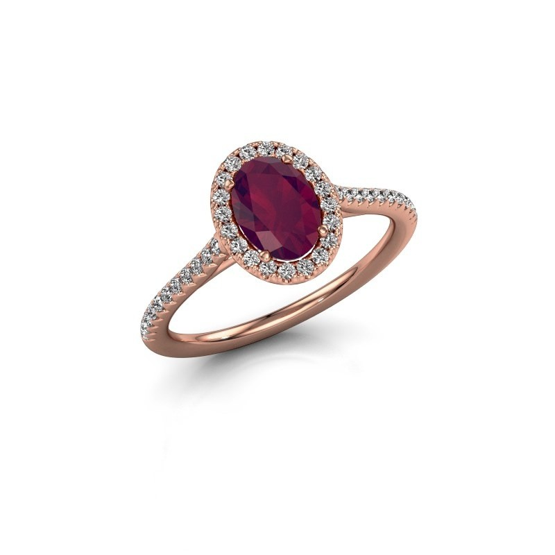 Engagement ring Seline 2 375 rose gold rhodolite 7x5 mm