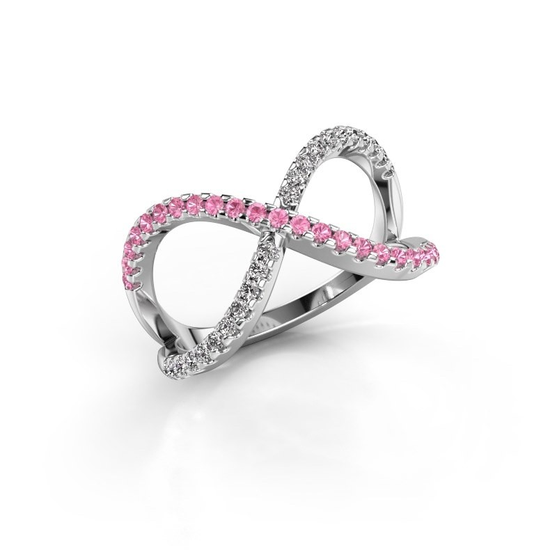 Ring Alycia 2 950 platinum pink sapphire 1.3 mm