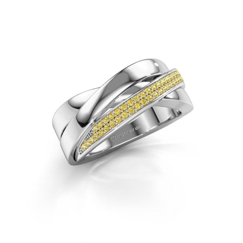 Ring Katherina 950 platina gele saffier 1 mm