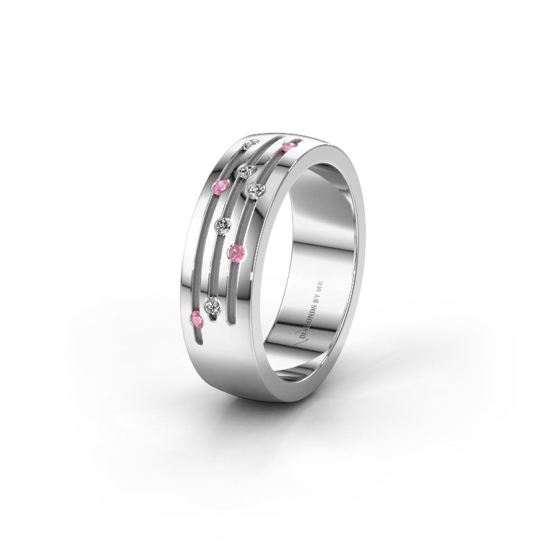 Wedding ring WH0134L26B 375 white gold pink sapphire ±6x2 mm