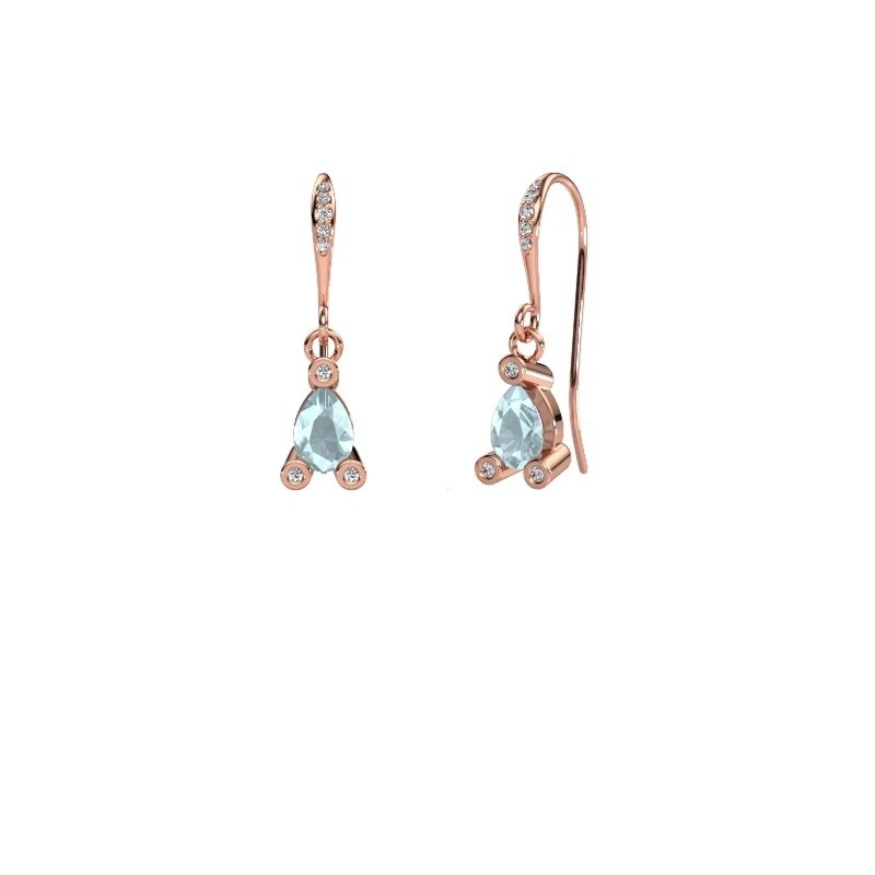 Drop earrings Bunny 2 375 rose gold aquamarine 7x5 mm