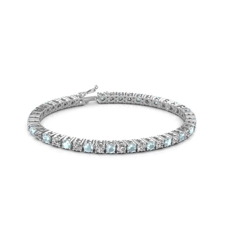Tennis bracelet Karin 375 white gold aquamarine 4 mm
