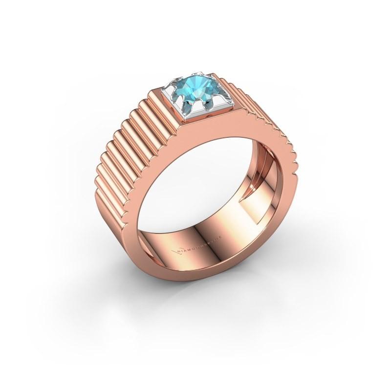 Pink ring Elias 585 rosé goud blauw topaas 5 mm