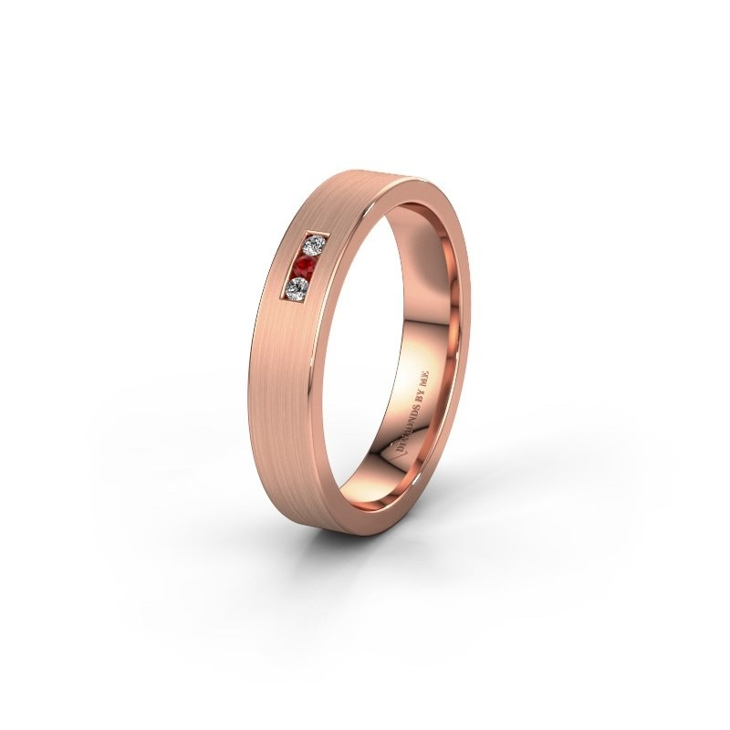 Trouwring WH0106L14AM 375 rosé goud robijn ±4x1.7 mm