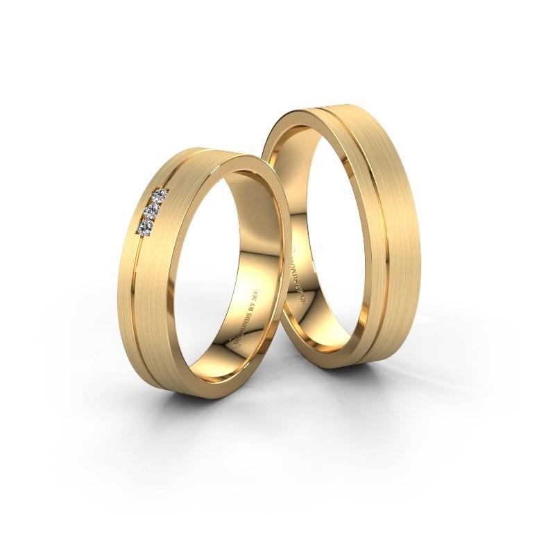 Trouwringen set WH0156LM14XM ±4x1.5 mm 14 karaat goud diamant 0.015 crt