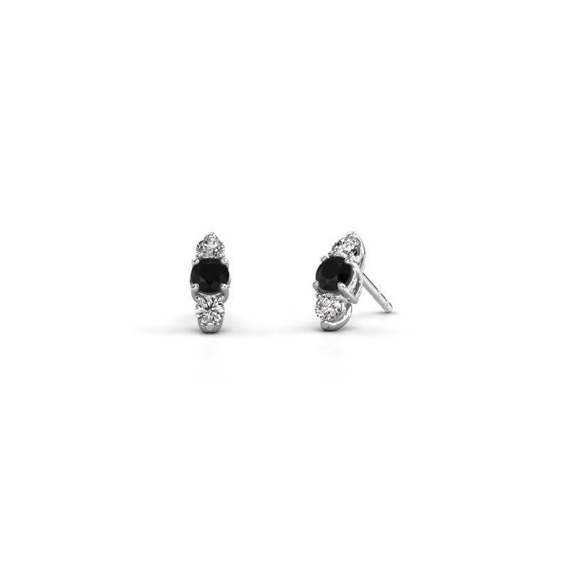 Oorbellen Amie 585 witgoud zwarte diamant 1.00 crt