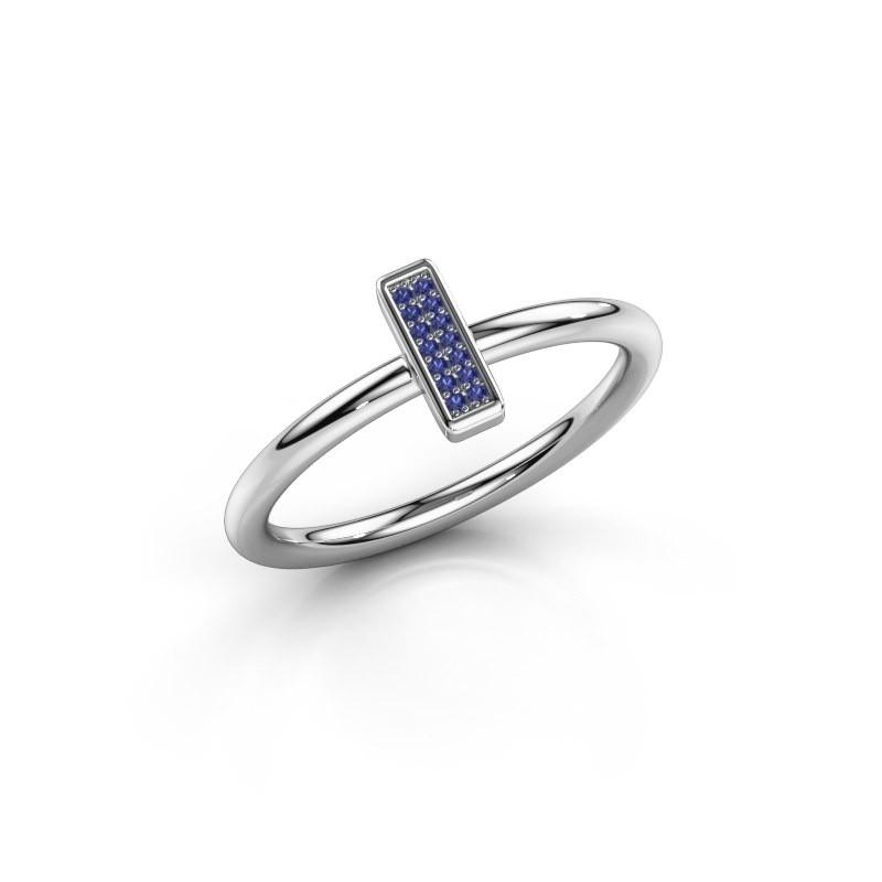 Ring Shape stripe small 925 zilver saffier 0.8 mm