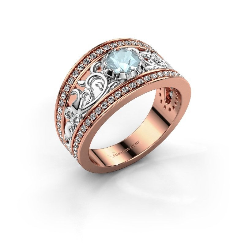 Ring Marilee 585 rosé goud aquamarijn 5 mm