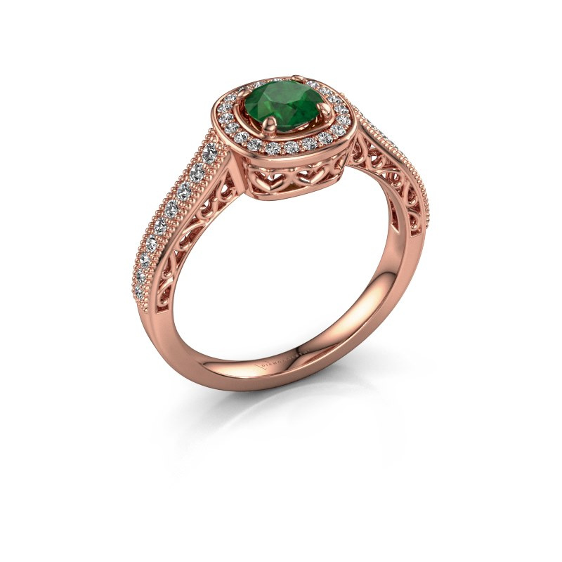 Engagement ring Candi 375 rose gold emerald 5 mm