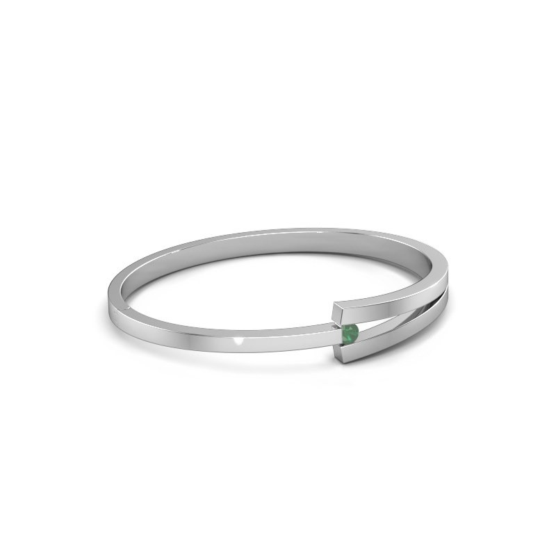Slavenarmband Sofia 585 witgoud smaragd 4 mm