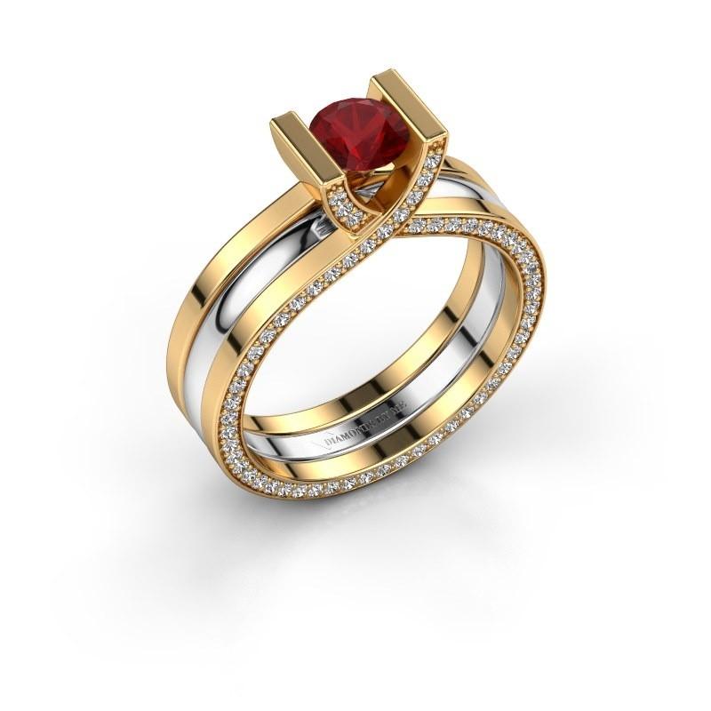 Verlovingsring Kenisha 585 goud robijn 5 mm