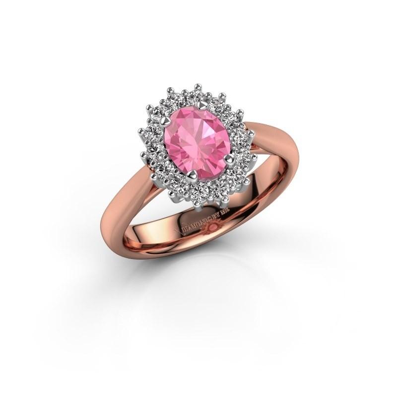 Verlovingsring Margien 1 585 rosé goud roze saffier 7x5 mm