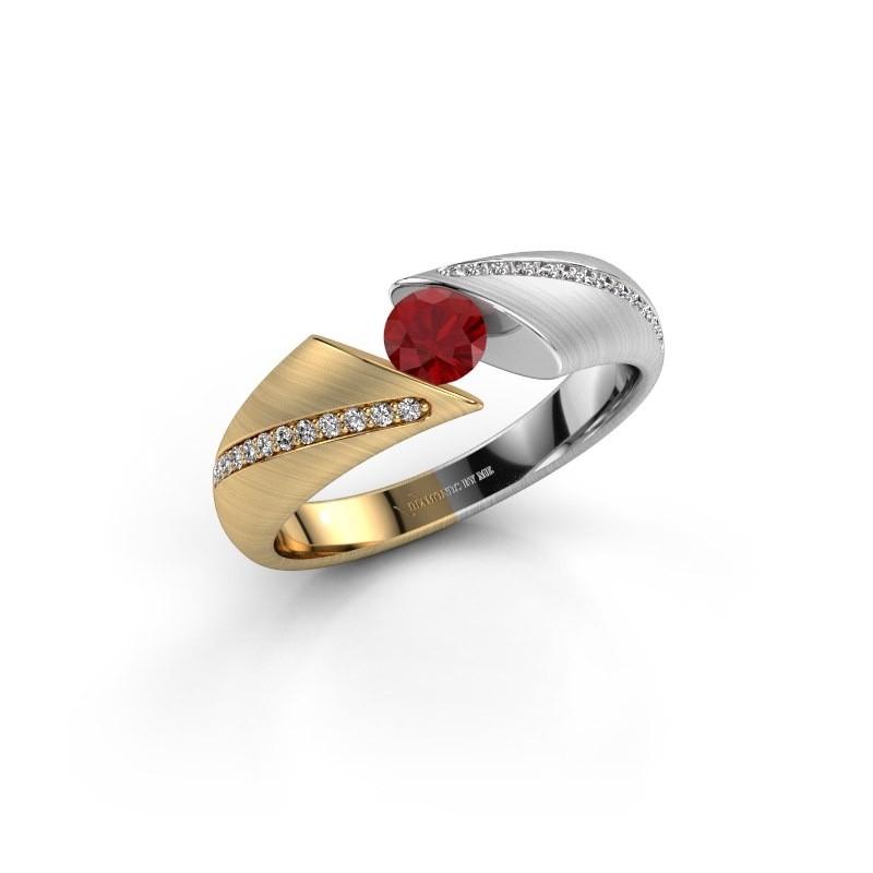Verlovingsring Hojalien 2 585 goud robijn 4.2 mm