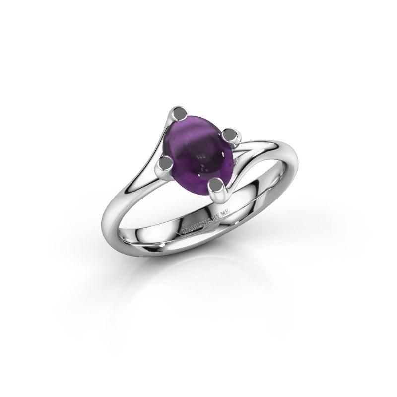 Ring Nora 950 platina amethist 8x6 mm