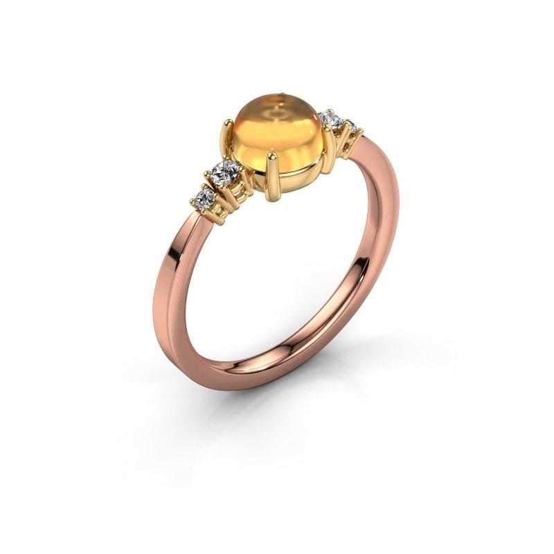 Ring Regine 585 rose gold citrin 6 mm